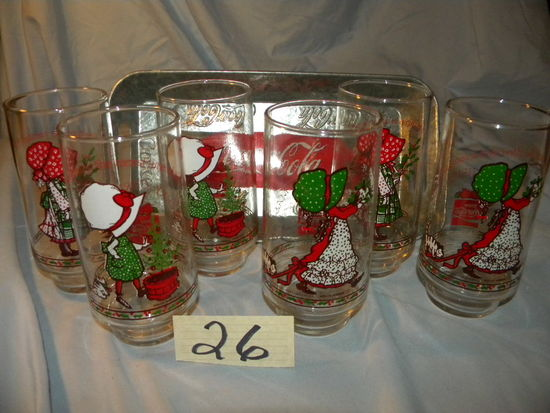 Coca Cola= (7) 1978 Holly Hobby Christmas Glasses W/quotes; Tray.