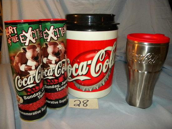 Coca Cola= Pair Super Xxxv Super Bowl 1 Qt Ins. Container; Pair Aluminum Th