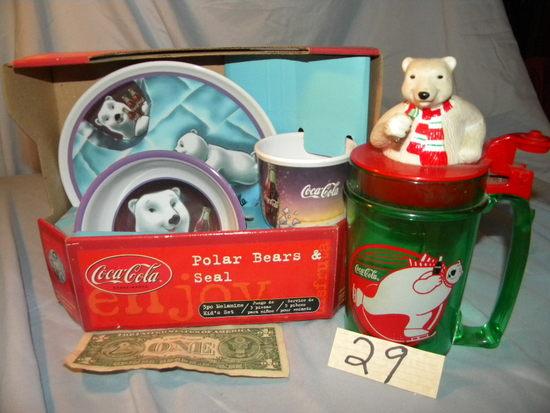 Coca Cola= 3 Piece Set; Bear Green Mug.
