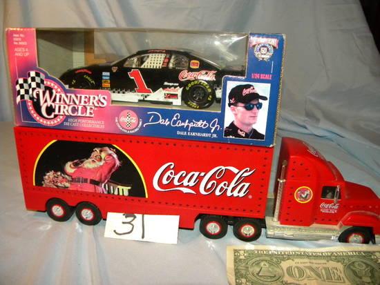 "Coca Cola= ""winners Circle"", 1/24 Scale, #1 Metal Car; Coca Cola Semi, Plas"