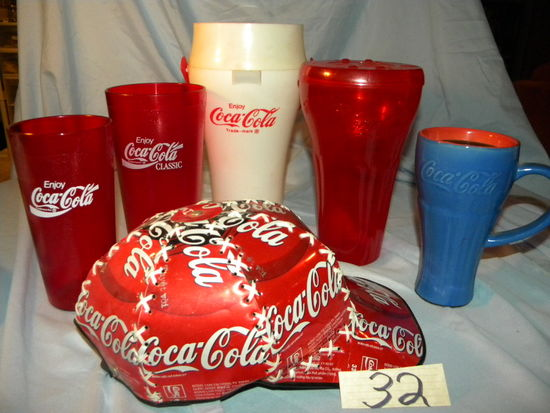 Coca Cola=Hat  Made From Pop Cans ; 3 Plastic Cups; 1 Ceramic Cup.