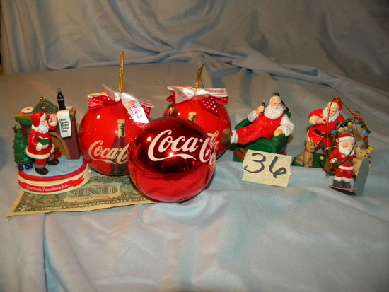 Coca Cola= Christmas Decorations; (3) Santa Balls;