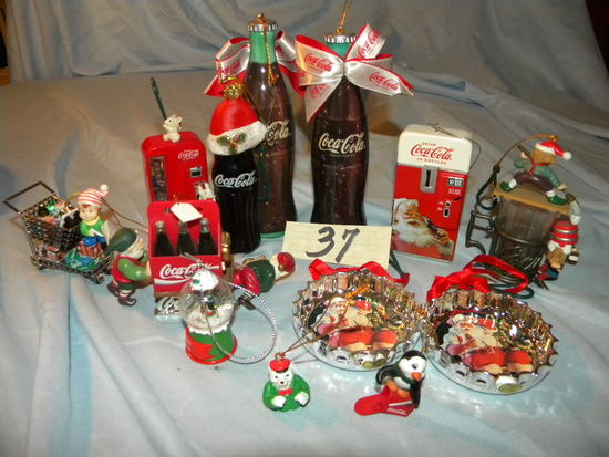 Coca Cola= 3 Bottles; Skaters; Christmas tree coke decorations; And More.