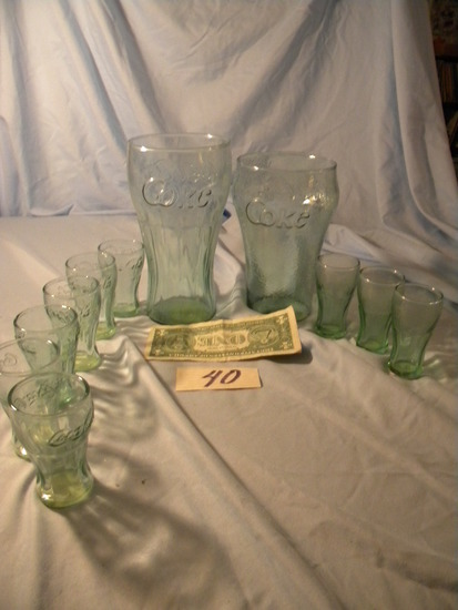 Coca Cola= Pair Of Larger Drinking Glasses; (10) Small Glasses.