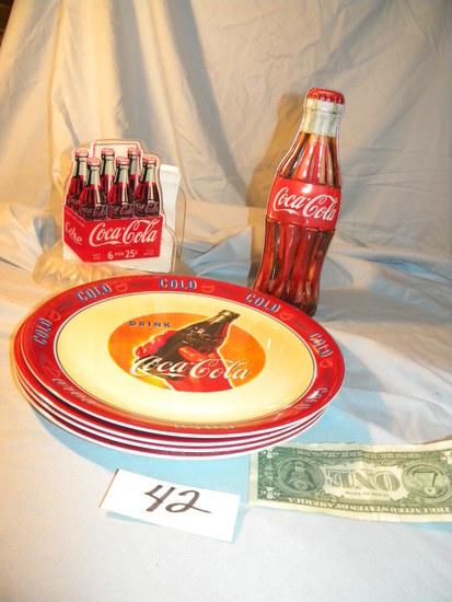 """Coca Cola= Metal Bank; Center Pieces; (4) Gibson Plates, 4 1/2"""" D."""