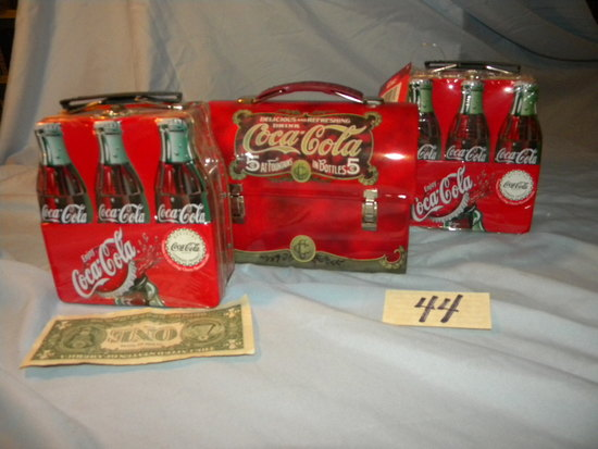 "Coca Cola= (3) Lunch Boxes, ""coke & Pack Tins""."
