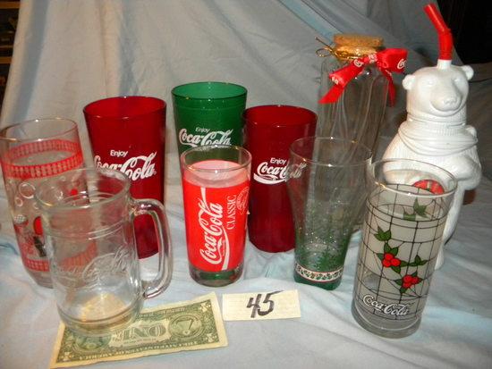Coca Cola= Flower Vase; 5 Glasses; Plastic Desk Dispenser Etc.