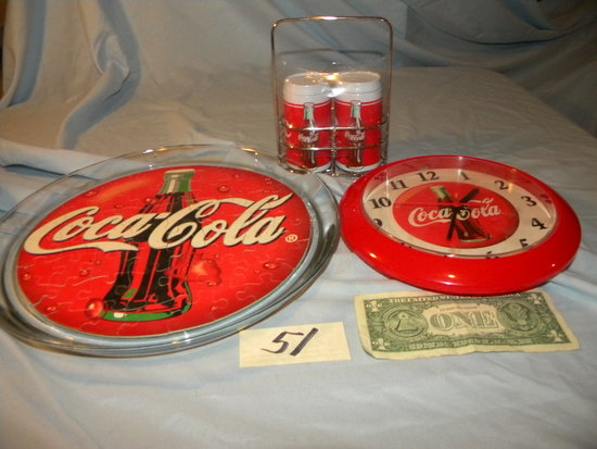 """Coca Cola= Wall Clock, Battery, 8 1/2""""h, Platter, 13""""d; Salt & Pepper, 4""""h;"""