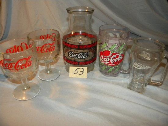 Coca Cola= Pair Of Stemmed Glass Ware; Glass Mug; Vase.
