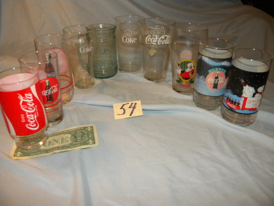 Coca Cola= Ten Piece Assorted Water Glasses.