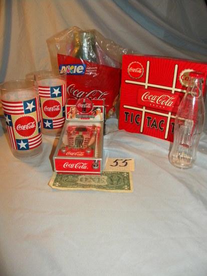 Coca Cola= Miniature Pin Ball Machine; Tic Tic Toe Game; Misc. Plastic Wate