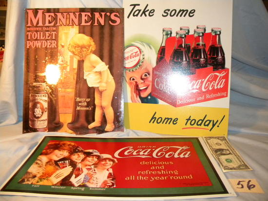 "Coca Cola= Metal, ""take Some"", 16"" X 12 1/2""; ""delicious And Refreshing"", 9"