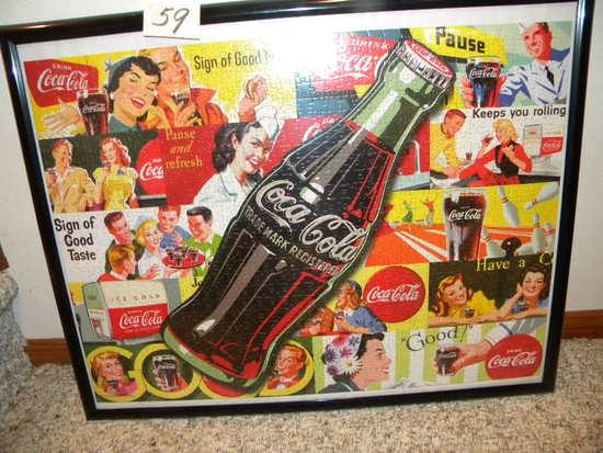 """Coca Cola= Framed, """"sign Of Good Taste"""", 21"""" X 27""""."""