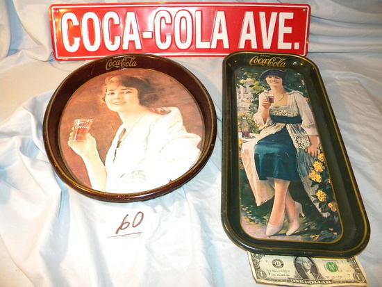 "Coca Cola= Road Sign-"" Coca Cola Ave."" 5 X 24""; Serving Tray 19 X 8""; Oval"