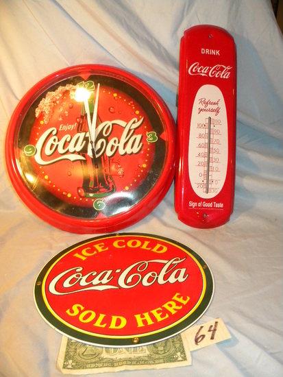 """Coca Cola= Thermometer 17 1/2 X 5""""; Quartz Clock, 12""""d; Porcelain Ad Sign,"""