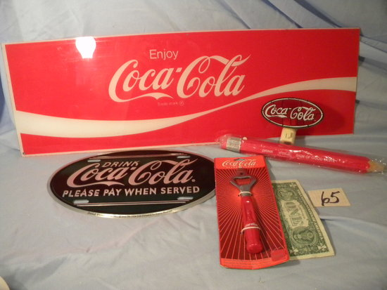 "Coca Cola= ""pleasure When Served"", Sign, 12x7""; Bottle Opener Night Light;"