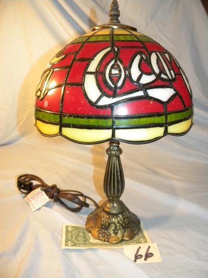 """Coca Cola= Desk Lamp 12""""h, Non Ferrous Base, Plastic Shade."""