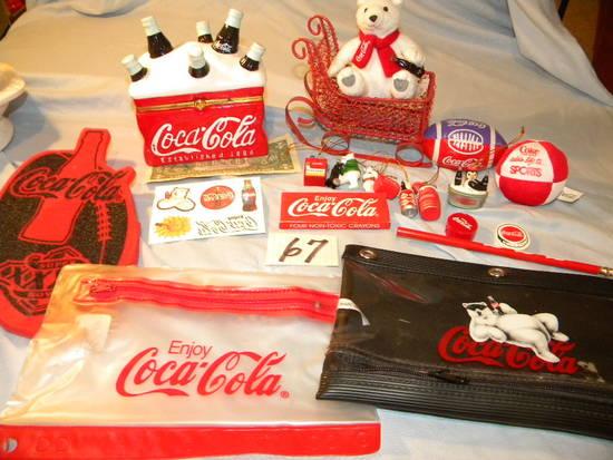 Coca Cola= Miniature Metal Sleigh; Pair Of Pencil Bags; Ceramic Ring Chest;