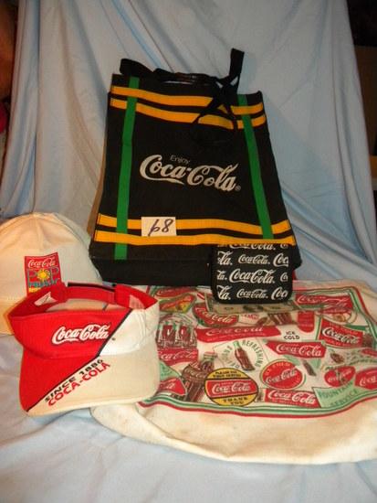 Coca Cola= Coin Purse; 2 Caps; Pair Shopping Bags.