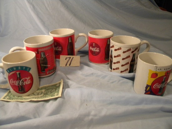 Coca Cola= (6)ceramic Coffee Cups.