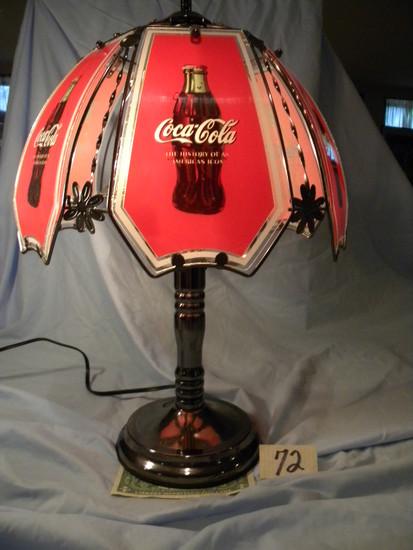 """Coca Cola= Touch Tone Desk Lamp, 23""""h, Non Ferrous Base, Plastic Shade."""