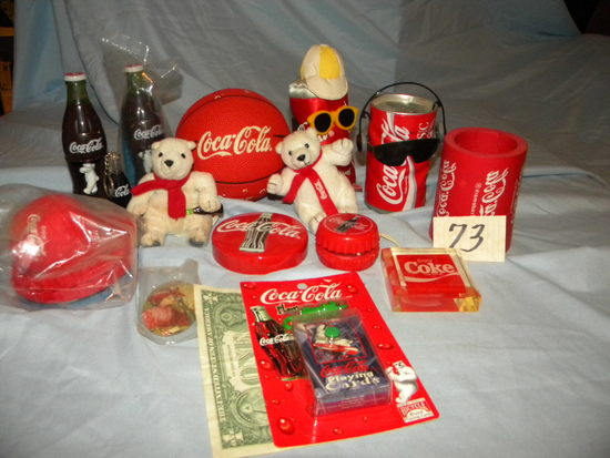 Coca Cola= Pair Of Bottle Bears; Paper Weights; Key Chains; Dancing Pop Can