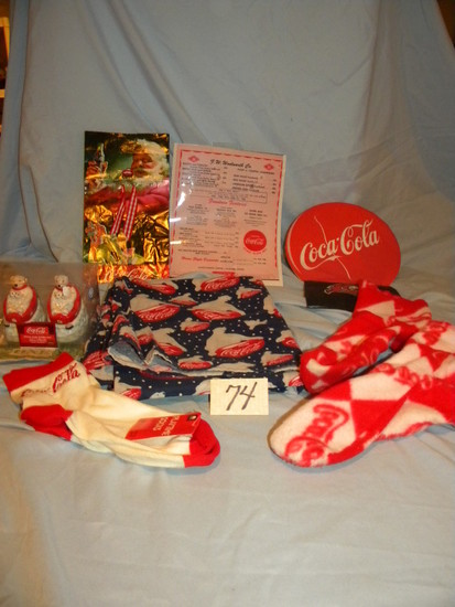 Coca Cola= Advertisement; Pair Of Socks; Table Cloth; Salt And Peppers Etc.