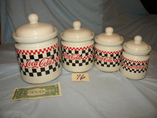 Coca Cola= Four Piece Matching Canister Set.