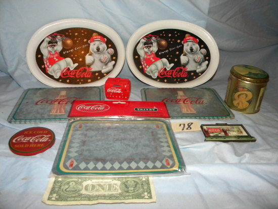 Coca Cola=pair Of Trays; (5) Trivets; Magnets Etc.