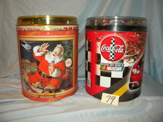 "Coca Cola= Pair Of Empty Pop Corn Tins W/battery Train & Puzzles; 12""h X 10"