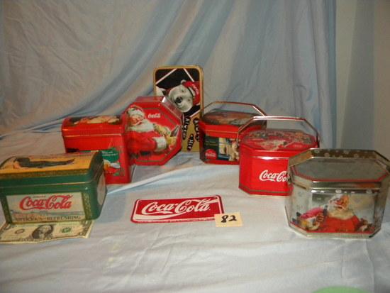 """Coca Cola= (7) Tins, Sign 3""""x 6""""."""