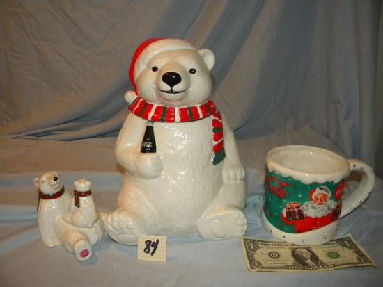 """Coca Cola= Ceramic Bear W/cub Salt And Pepper; Cookie Jar, 10""""h; Large Cera"""