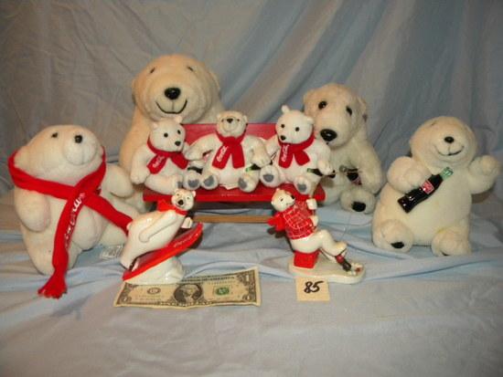 Coca Cola= (5) Stuffed Bears; Three Bears On A Bench; Pair Of Ceramic Bears