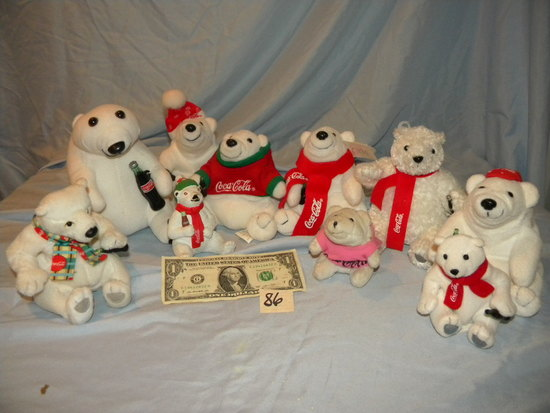 Coca Cola= (9) Variety Of Stuffed Bears.