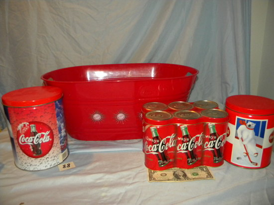 "Coca Cola= (5) Tins, Small Plastic Wash Tub 8"" X 18""."