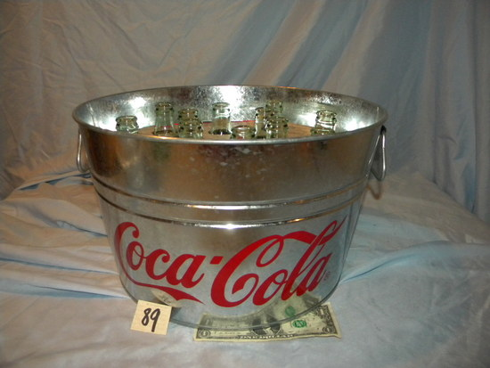 "Coca Cola= Wash Tub Galvanized With 12 Bottles, 8""h X 14""d."