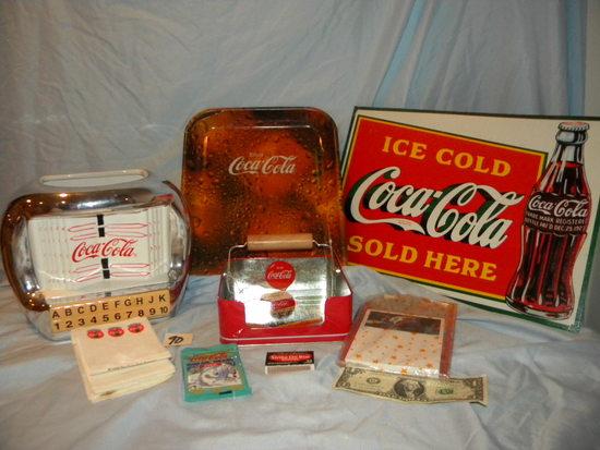 "Coca Cola= Ceramic Juke Box W/o Lid; Napkin Holder, Serving Tray, 10 X 13"" ;"