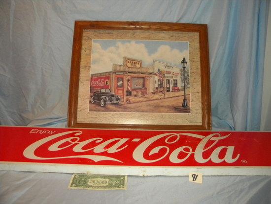"""Coca Cola= Print W/frame 18 X 22""""; Metal Coca Cola Sign 10 X 48""""."""
