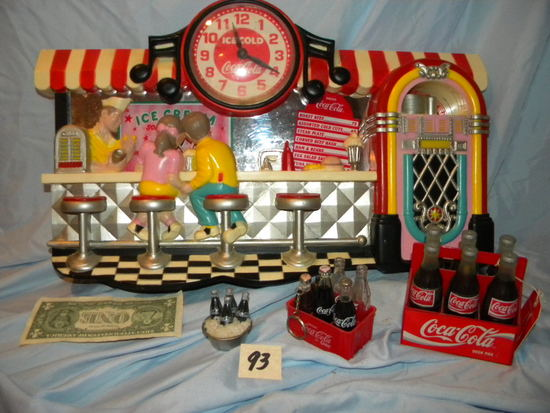 "Coca Cola= Model-""old Ice Cream Parlor"", (3) Miniature Coca Cola Bottles."