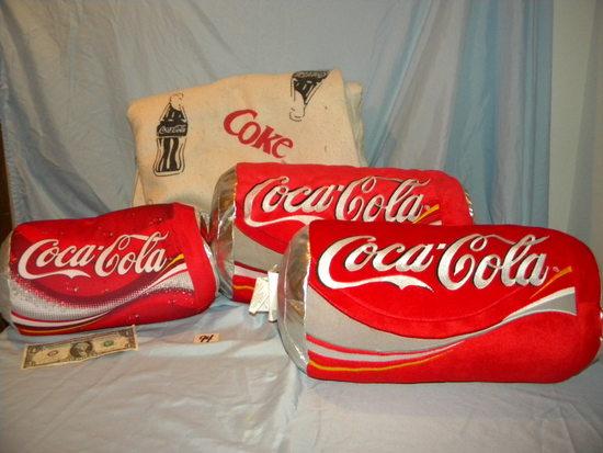 Coca Cola 3 pillows Coke design blanket