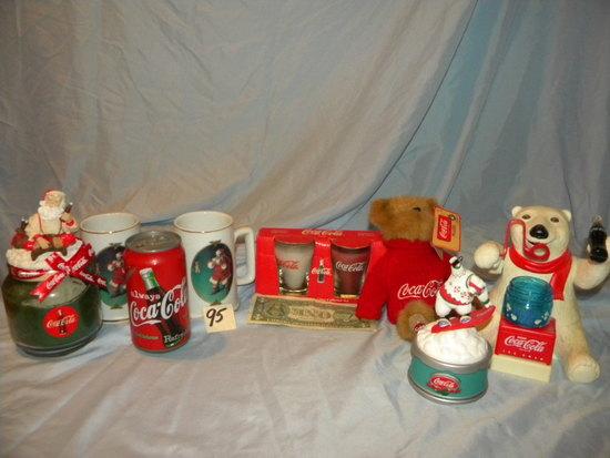 Coca Cola= Bubble Bear; Bear Music Box; Pair Of Mugs.