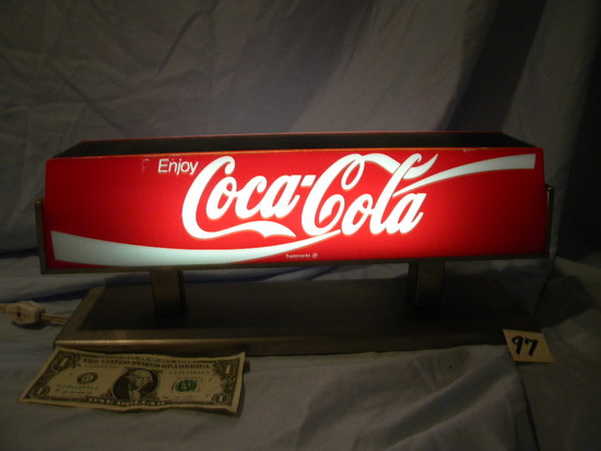 Coca Cola= Lighted Display Sign.