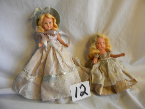 "Story Book Dolls= W/mechanical Eyes; Fixed Eyes Doll W/stand, 5""h."