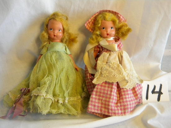 "Pair Of Story Book Dolls With Painted Eyes, 5""h."