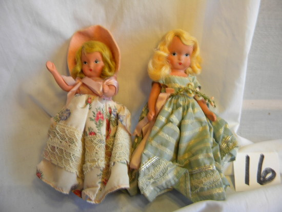 Pair Of Story Book Dolls With Painted Eyes, Both 5'h.