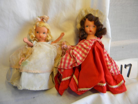 "Pair Of Story Book Dolls With Painted Eyes, One With #11, W/stand. 5""h."