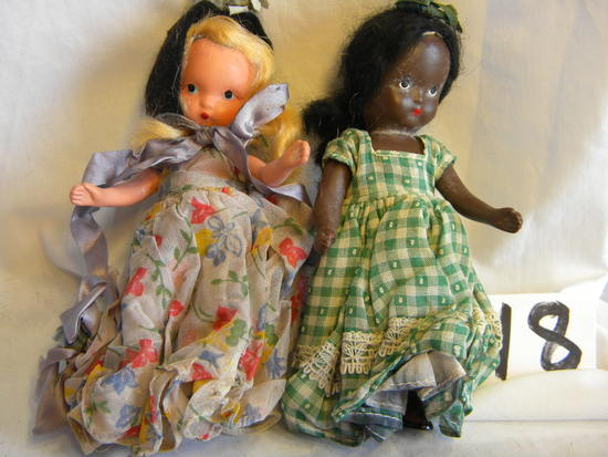 "Pair Of Story Book Dolls With Painted Eyes, Black & White. 5""h."