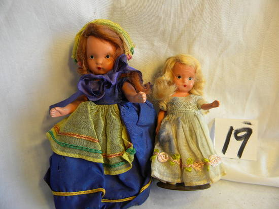 "Pair Of Story Book Dolls. W/stand, 5""h."