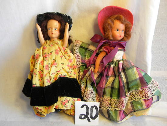 "Pair Of Story Book like Dolls, Brunette And Black Hair, 7""h."