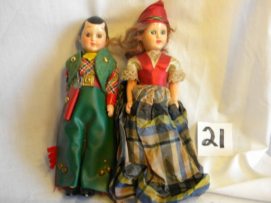 "Story Book Like Dolls,unmarked, Cowboy And Lady Brunettes With Mechanical Eyes, 7""h."